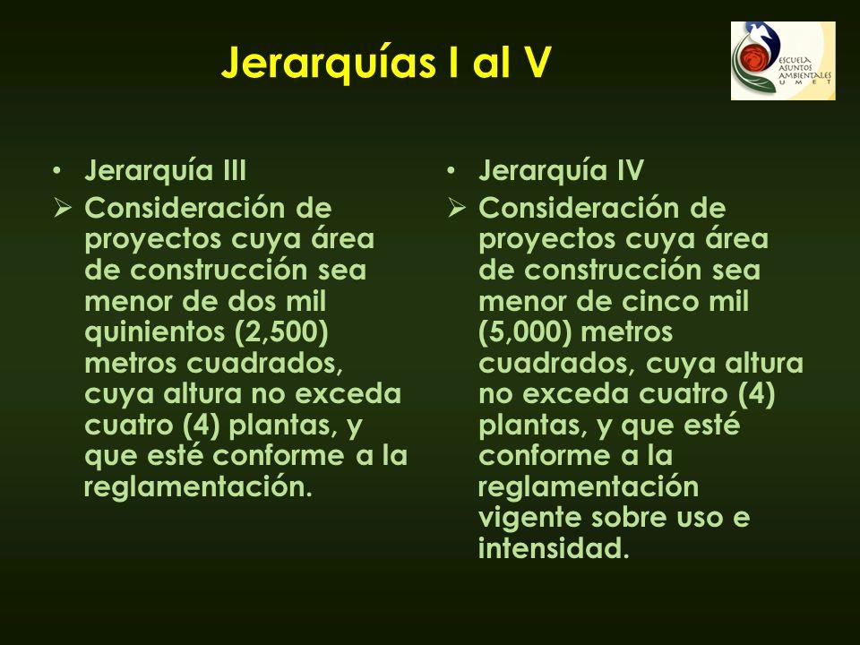 Jerarquías I al V Jerarquía III Consideración de proyectos cuya área de construcción sea menor de dos mil quinientos (2,500) metros cuadrados, cuya al