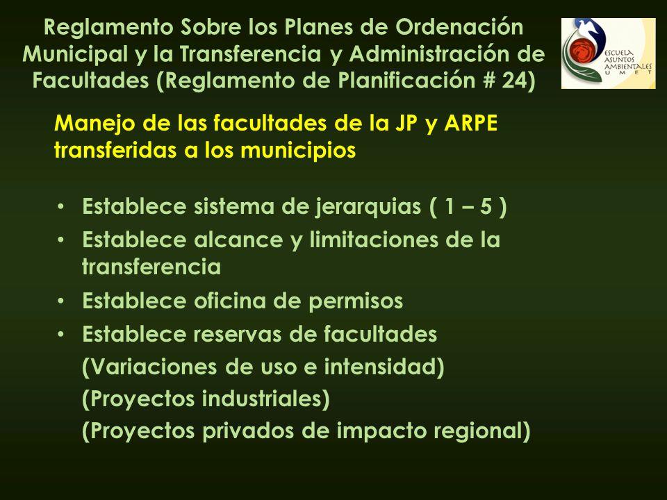 Establece sistema de jerarquias ( 1 – 5 ) Manejo de las facultades de la JP y ARPE transferidas a los municipios Establece alcance y limitaciones de l