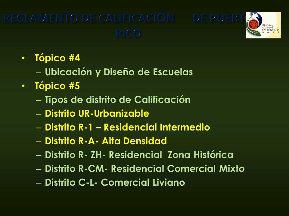 Tópico #4 – Ubicación y Diseño de Escuelas Tópico #5 – Tipos de distrito de Calificación – Distrito UR-Urbanizable – Distrito R-1 – Residencial Interm