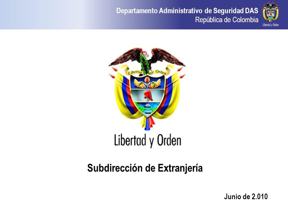 Departamento Administrativo de Seguridad DAS República de Colombia Subdirección de Extranjería Junio de 2.010