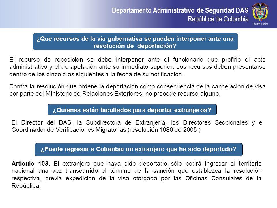Departamento Administrativo de Seguridad DAS República de Colombia ¿Que recursos de la vía gubernativa se pueden interponer ante una resolución de dep