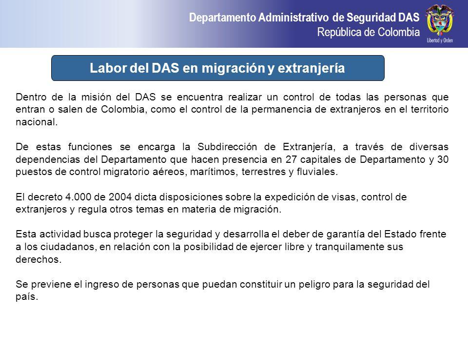 Departamento Administrativo de Seguridad DAS República de Colombia Actividad del DAS en Extranjería y migración Dentro de la misión del DAS se encuent