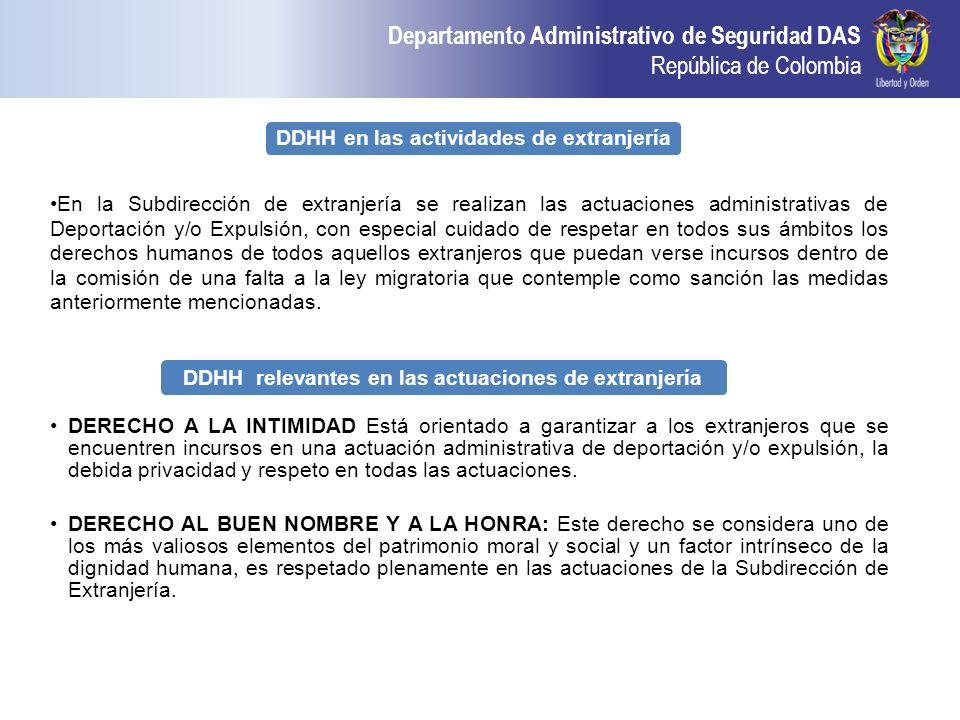 Departamento Administrativo de Seguridad DAS República de Colombia DDHH en las actividades de extranjería En la Subdirección de extranjería se realiza