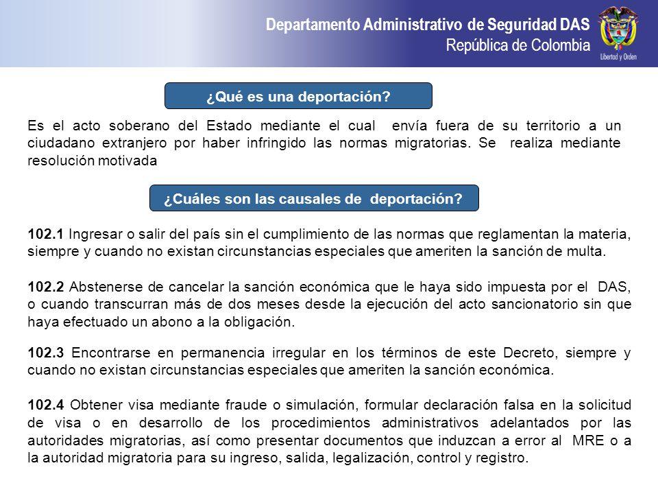 Departamento Administrativo de Seguridad DAS República de Colombia ¿Qué es una deportación? Es el acto soberano del Estado mediante el cual envía fuer