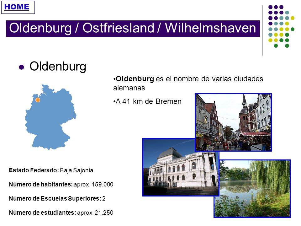 Fachhochschule Oldenburg/ Ostfriesland/ Wilhelmshaven Universidad Creada en el 2000, es la unión de tres escuelas profesionales Oldenburg/Ostfriesland/Wilhelmshaven.