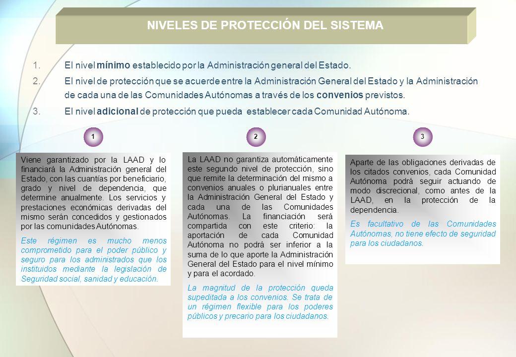 1.El nivel mínimo establecido por la Administración general del Estado. 2.El nivel de protección que se acuerde entre la Administración General del Es