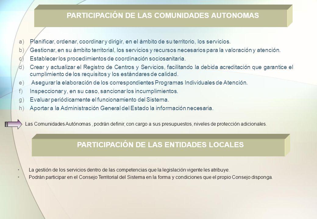 a)Planificar, ordenar, coordinar y dirigir, en el ámbito de su territorio, los servicios. b)Gestionar, en su ámbito territorial, los servicios y recur