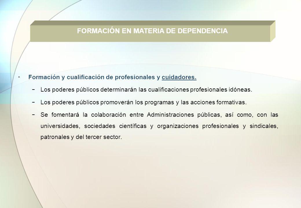 Formación y cualificación de profesionales y cuidadores. Los poderes públicos determinarán las cualificaciones profesionales idóneas. Los poderes públ