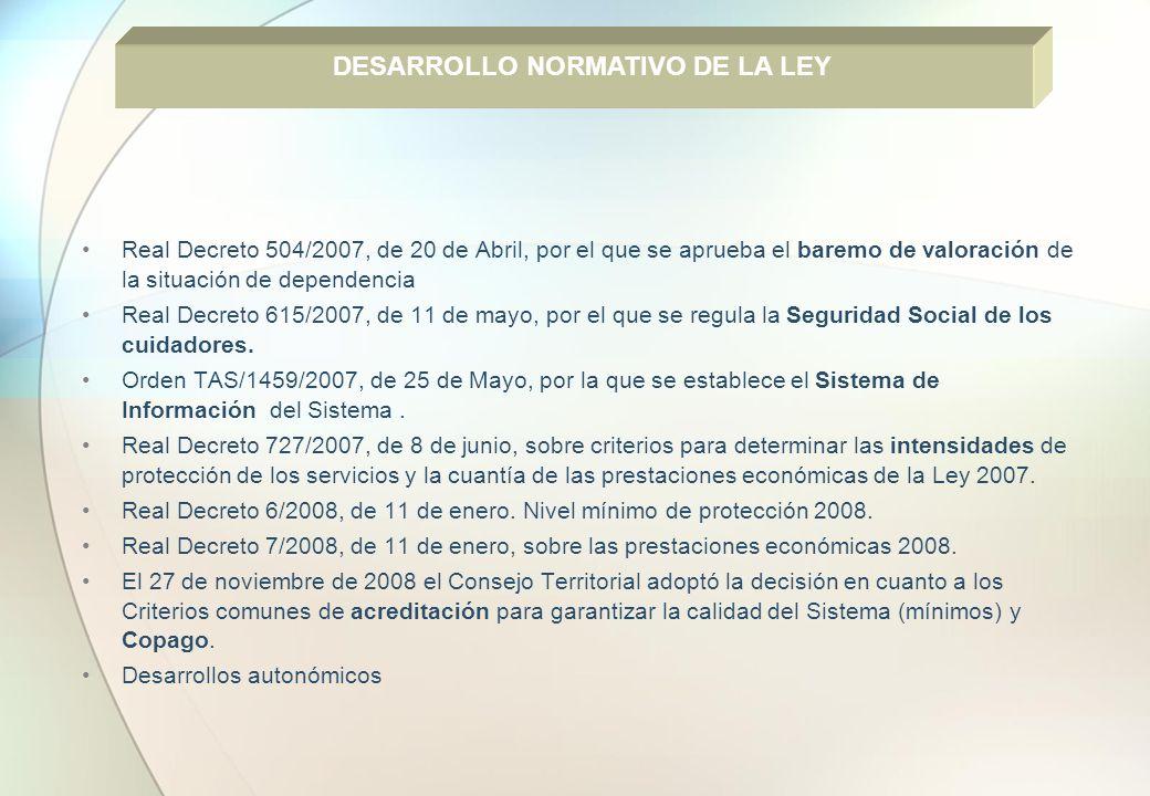 Real Decreto 504/2007, de 20 de Abril, por el que se aprueba el baremo de valoración de la situación de dependencia Real Decreto 615/2007, de 11 de ma