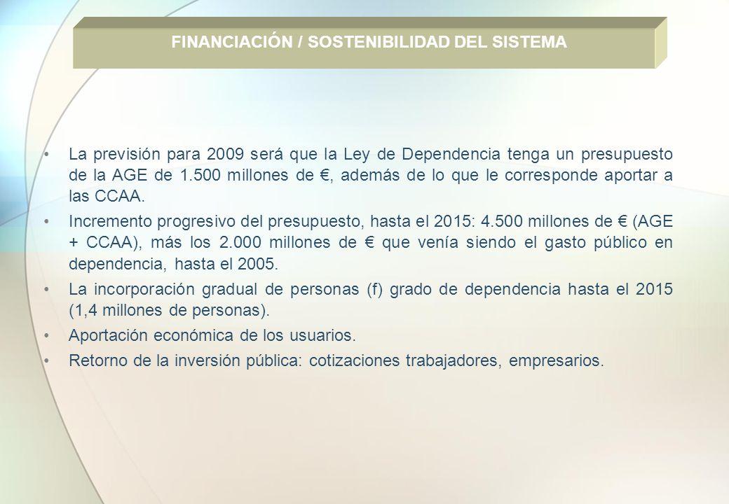 La previsión para 2009 será que la Ley de Dependencia tenga un presupuesto de la AGE de 1.500 millones de, además de lo que le corresponde aportar a l