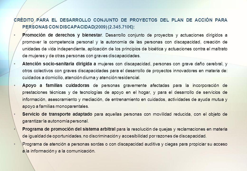 CRÉDITO PARA EL DESARROLLO CONJUNTO DE PROYECTOS DEL PLAN DE ACCIÓN PARA PERSONAS CON DISCAPACIDAD(2009) (2.345.710): Promoción de derechos y bienesta