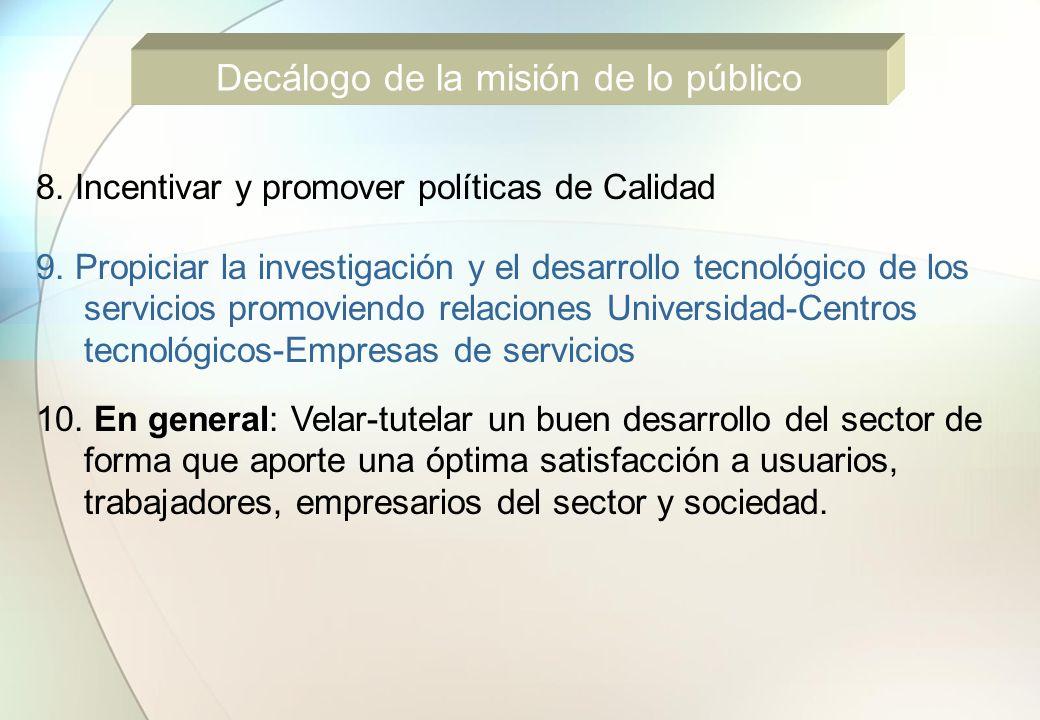8. Incentivar y promover políticas de Calidad 9. Propiciar la investigación y el desarrollo tecnológico de los servicios promoviendo relaciones Univer