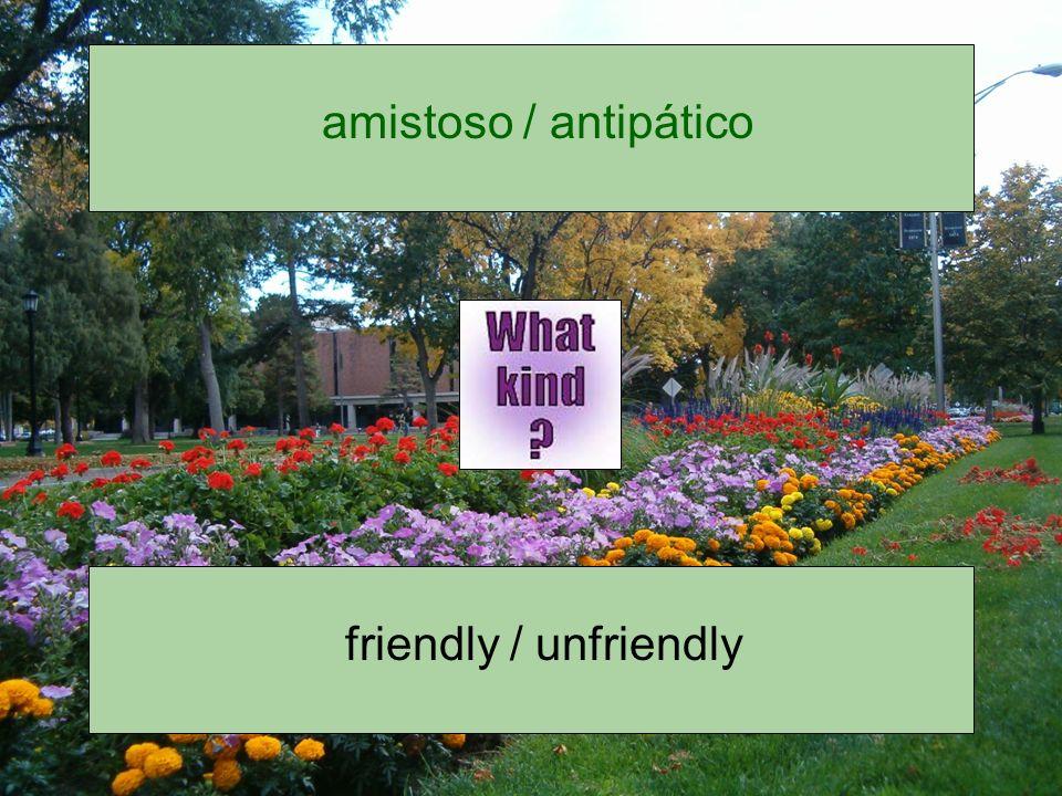 amistoso / antipático