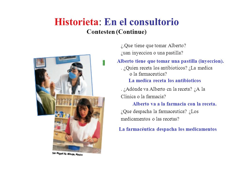 Historieta: En el consultorio Contesten ¿.Donde esta Alberto? ¿en la consulta de la medica o en el hospital?. ¿Quien esta enfermo? ¿Alberto o la medic