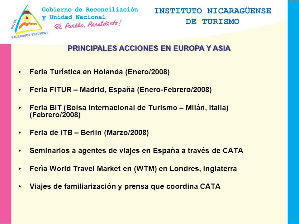 Feria Turística en Holanda (Enero/2008) Feria FITUR – Madrid, España (Enero-Febrero/2008) Feria BIT (Bolsa Internacional de Turismo – Milán, Italia) (Febrero/2008) Feria de ITB – Berlin (Marzo/2008) Seminarios a agentes de viajes en España a través de CATA Ferìa World Travel Market en (WTM) en Londres, Inglaterra Viajes de familiarización y prensa que coordina CATA PRINCIPALES ACCIONES EN EUROPA Y ASIA