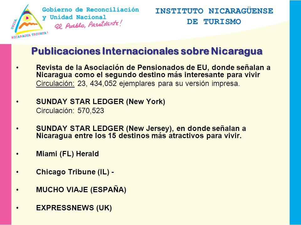 Revista de la Asociación de Pensionados de EU, donde señalan a Nicaragua como el segundo destino más interesante para vivir Circulación: 23, 434,052 ejemplares para su versión impresa.