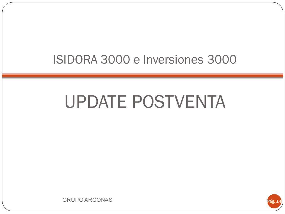 ISIDORA 3000 e Inversiones 3000 UPDATE POSTVENTA GRUPO ARCONAS Pág. 14