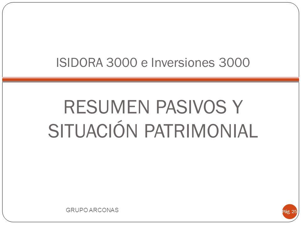 ISIDORA 3000 e Inversiones 3000 RESUMEN PASIVOS Y SITUACIÓN PATRIMONIAL GRUPO ARCONAS Pág. 25