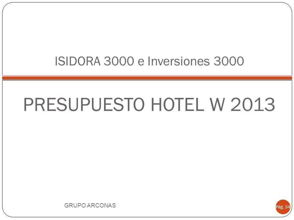 ISIDORA 3000 e Inversiones 3000 PRESUPUESTO HOTEL W 2013 GRUPO ARCONAS Pág. 34