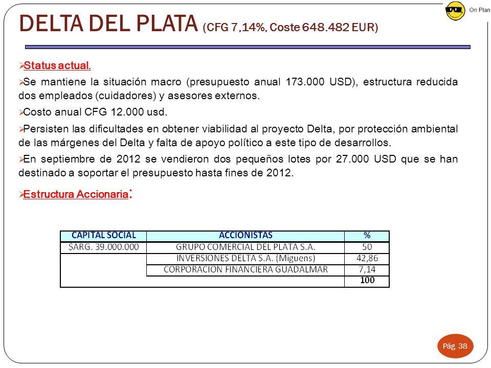 Pág. 38 Status actual. Se mantiene la situación macro (presupuesto anual 173.000 USD), estructura reducida dos empleados (cuidadores) y asesores exter