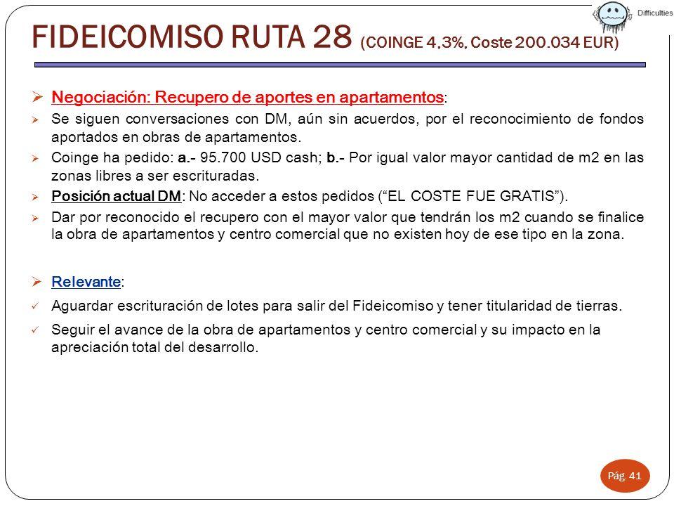 FIDEICOMISO RUTA 28 (COINGE 4,3%, Coste 200.034 EUR) Pág. 41 Negociación: Recupero de aportes en apartamentos : Se siguen conversaciones con DM, aún s