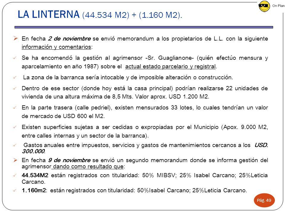 Pág. 49 LA LINTERNA (44.534 M2) + (1.160 M2). En fecha 2 de noviembre se envió memorandum a los propietarios de L.L. con la siguiente información y co
