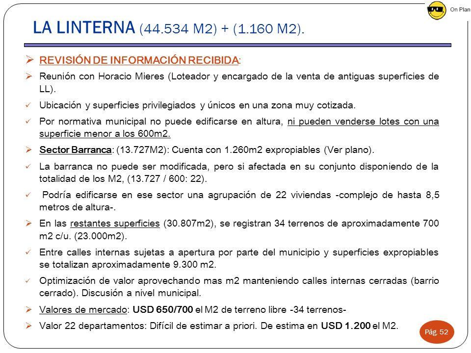 Pág. 52 LA LINTERNA (44.534 M2) + (1.160 M2). REVISIÓN DE INFORMACIÓN RECIBIDA: Reunión con Horacio Mieres (Loteador y encargado de la venta de antigu