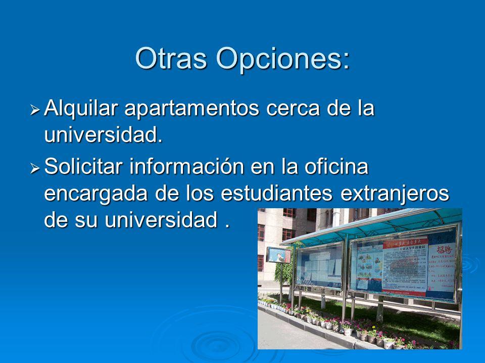 Otras Opciones: Alquilar apartamentos cerca de la universidad.