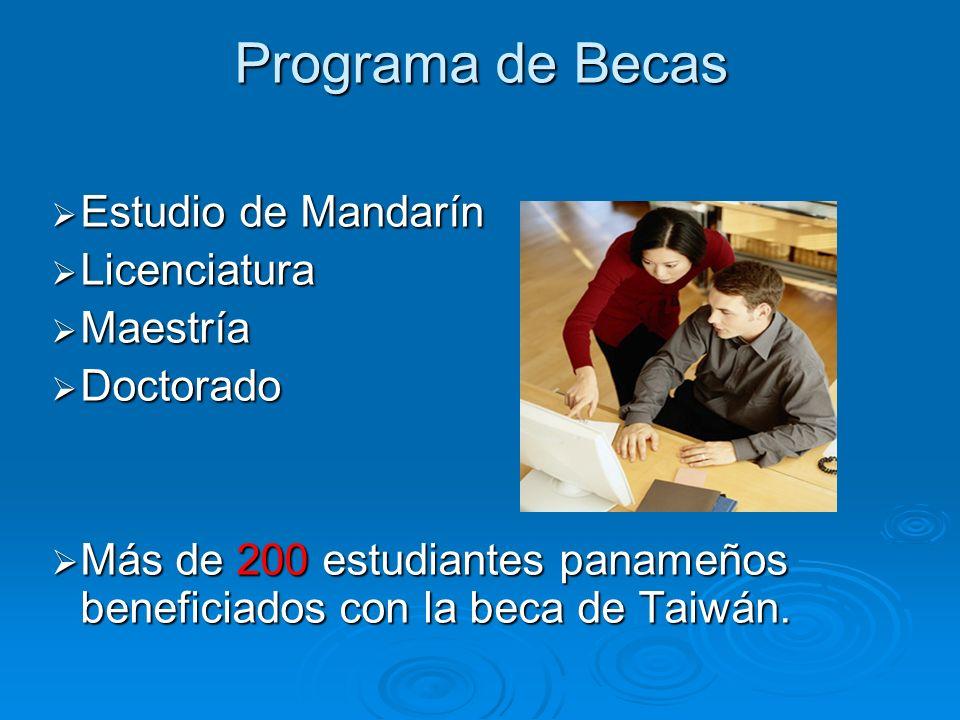 Programa de Becas Estudio de Mandarín Estudio de Mandarín Licenciatura Licenciatura Maestría Maestría Doctorado Doctorado Más de 200 estudiantes panameños beneficiados con la beca de Taiwán.