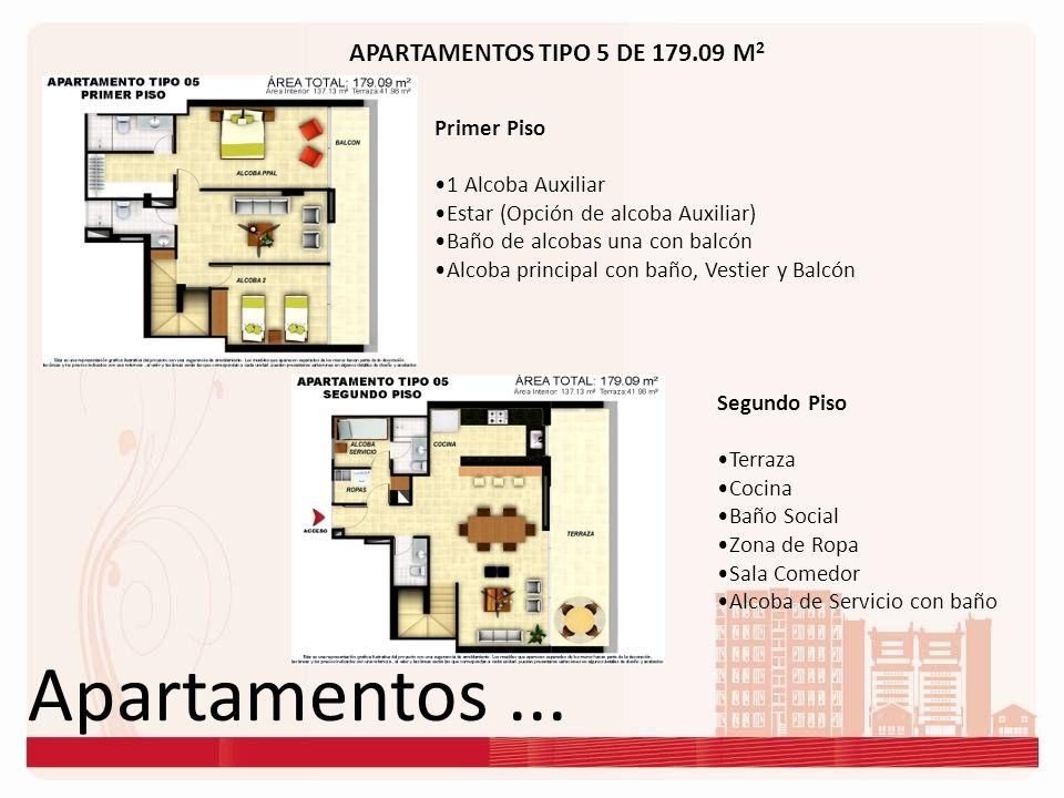 Apartamentos... APARTAMENTOS TIPO 5 DE 179.09 M 2 Primer Piso 1 Alcoba Auxiliar Estar (Opción de alcoba Auxiliar) Baño de alcobas una con balcón Alcob