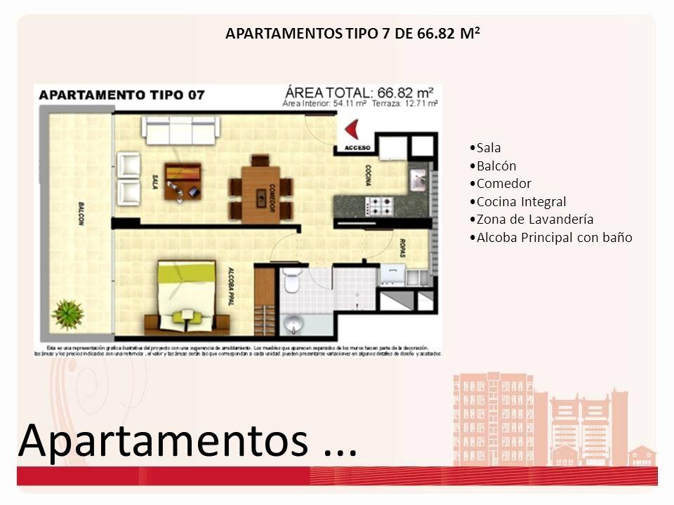 Apartamentos... APARTAMENTOS TIPO 7 DE 66.82 M 2 Sala Balcón Comedor Cocina Integral Zona de Lavandería Alcoba Principal con baño