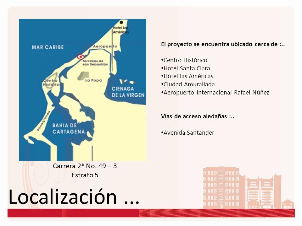 Localización... Carrera 2ª No. 49 – 3 Estrato 5 El proyecto se encuentra ubicado cerca de :.. Centro Histórico Hotel Santa Clara Hotel las Américas Ci