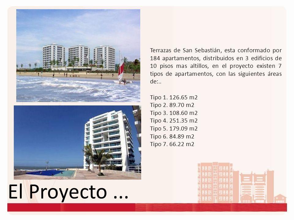 El Proyecto... Terrazas de San Sebastián, esta conformado por 184 apartamentos, distribuidos en 3 edificios de 10 pisos mas altillos, en el proyecto e