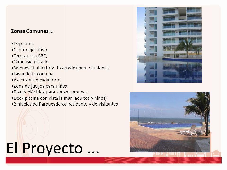 El Proyecto... Zonas Comunes :.. Depósitos Centro ejecutivo Terraza con BBQ Gimnasio dotado Salones (1 abierto y 1 cerrado) para reuniones Lavandería