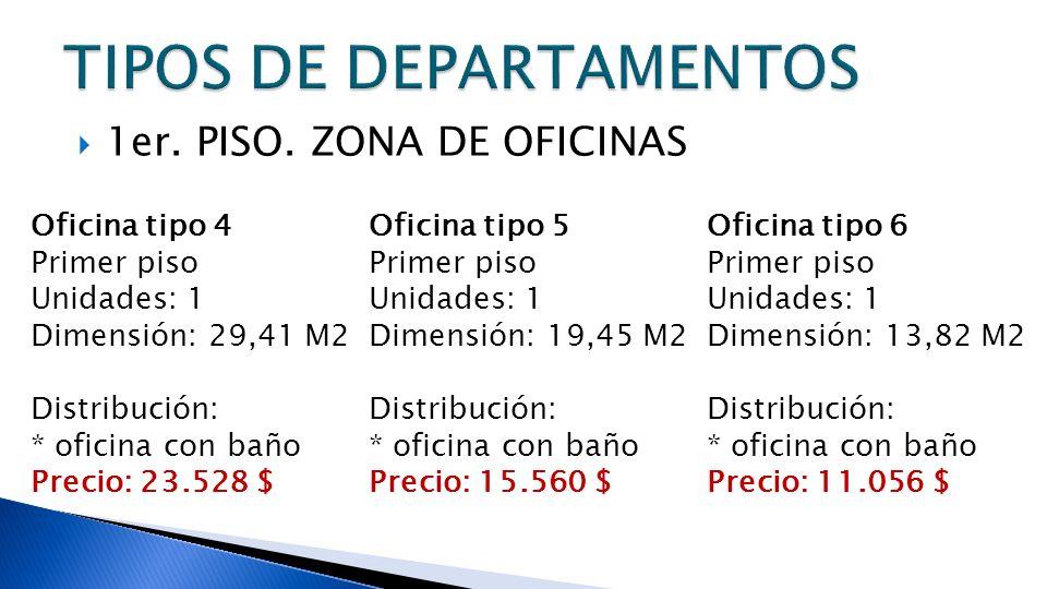 1er. PISO. ZONA DE OFICINAS Oficina tipo 4 Primer piso Unidades: 1 Dimensión: 29,41 M2 Distribución: * oficina con baño Precio: 23.528 $ Oficina tipo