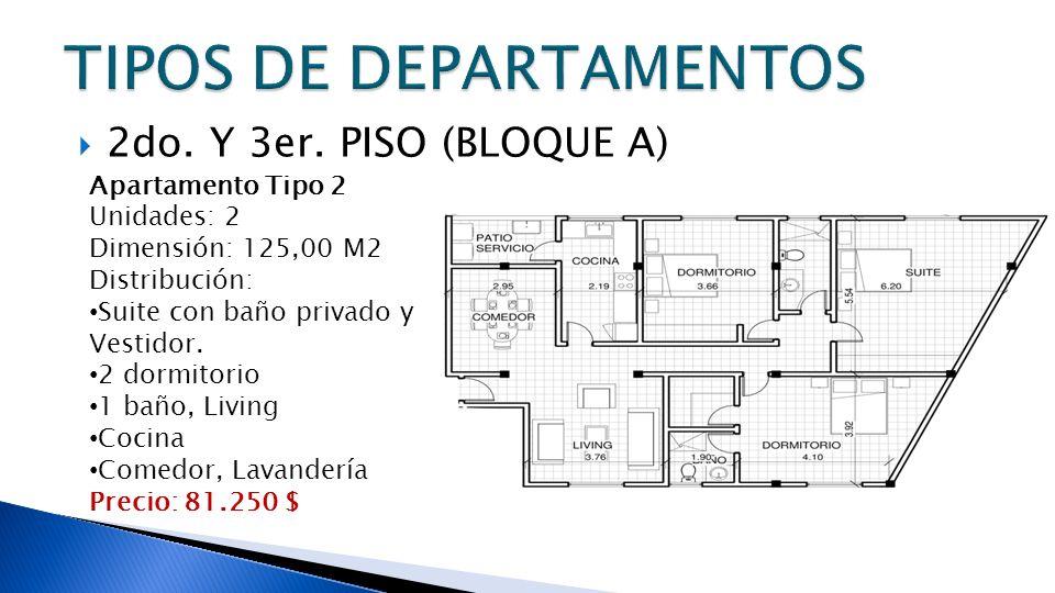 2do. Y 3er. PISO (BLOQUE A) Apartamento Tipo 2 Unidades: 2 Dimensión: 125,00 M2 Distribución: Suite con baño privado y Vestidor. 2 dormitorio 1 baño,