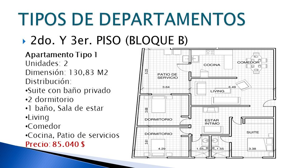 2do. Y 3er. PISO (BLOQUE B) Apartamento Tipo 1 Unidades: 2 Dimensión: 130,83 M2 Distribución: Suite con baño privado 2 dormitorio 1 baño, Sala de esta