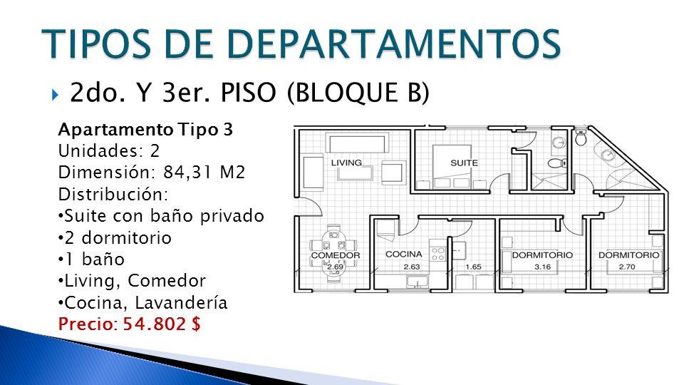 2do. Y 3er. PISO (BLOQUE B) Apartamento Tipo 3 Unidades: 2 Dimensión: 84,31 M2 Distribución: Suite con baño privado 2 dormitorio 1 baño Living, Comedo