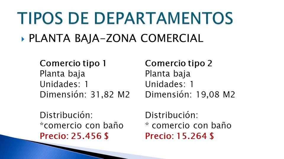 PLANTA BAJA-ZONA COMERCIAL Comercio tipo 1 Planta baja Unidades: 1 Dimensión: 31,82 M2 Distribución: *comercio con baño Precio: 25.456 $ Comercio tipo 2 Planta baja Unidades: 1 Dimensión: 19,08 M2 Distribución: * comercio con baño Precio: 15.264 $