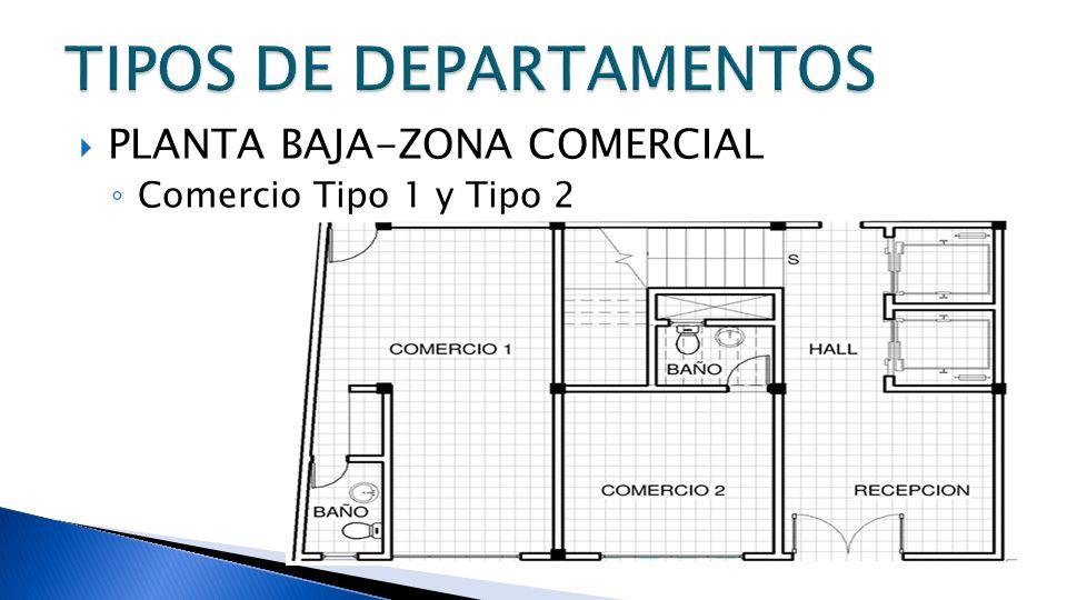 PLANTA BAJA-ZONA COMERCIAL Comercio Tipo 1 y Tipo 2