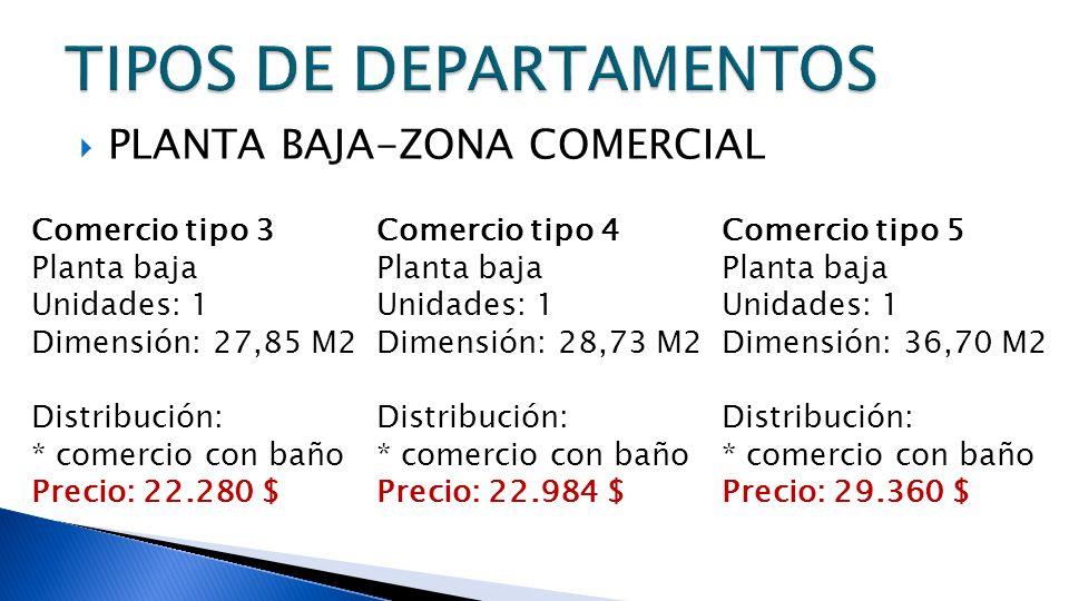 PLANTA BAJA-ZONA COMERCIAL Comercio tipo 3 Planta baja Unidades: 1 Dimensión: 27,85 M2 Distribución: * comercio con baño Precio: 22.280 $ Comercio tip