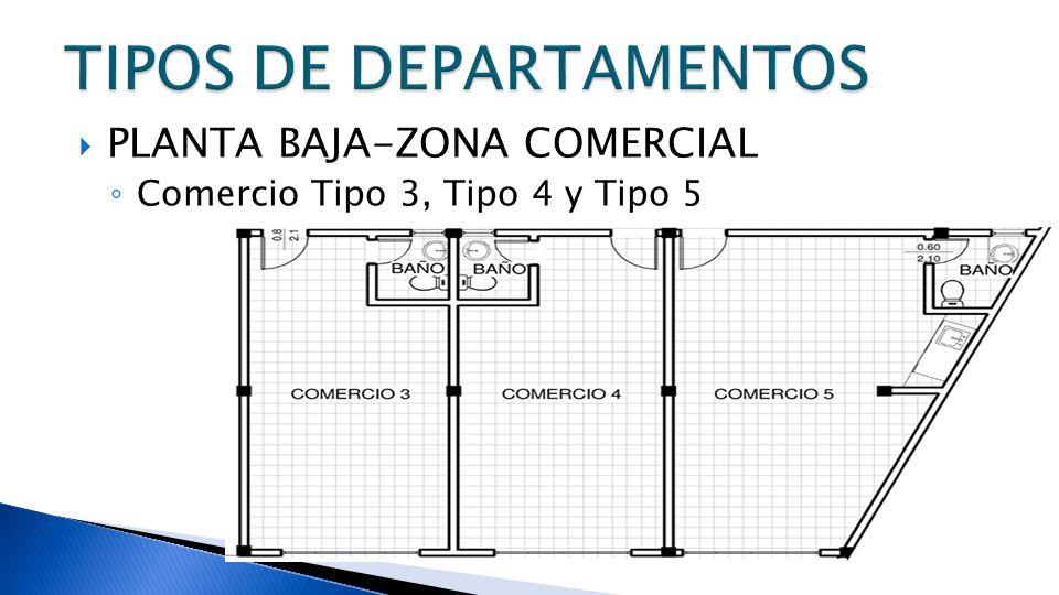 PLANTA BAJA-ZONA COMERCIAL Comercio Tipo 3, Tipo 4 y Tipo 5