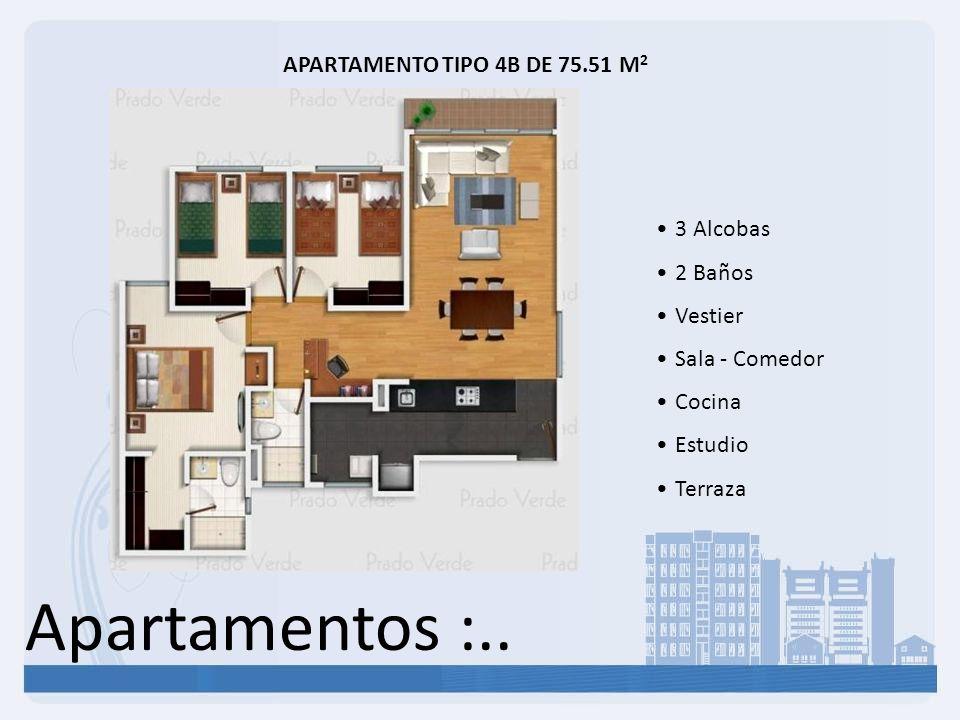 Apartamentos :.. APARTAMENTO TIPO 4B DE 75.51 M 2 3 Alcobas 2 Baños Vestier Sala - Comedor Cocina Estudio Terraza