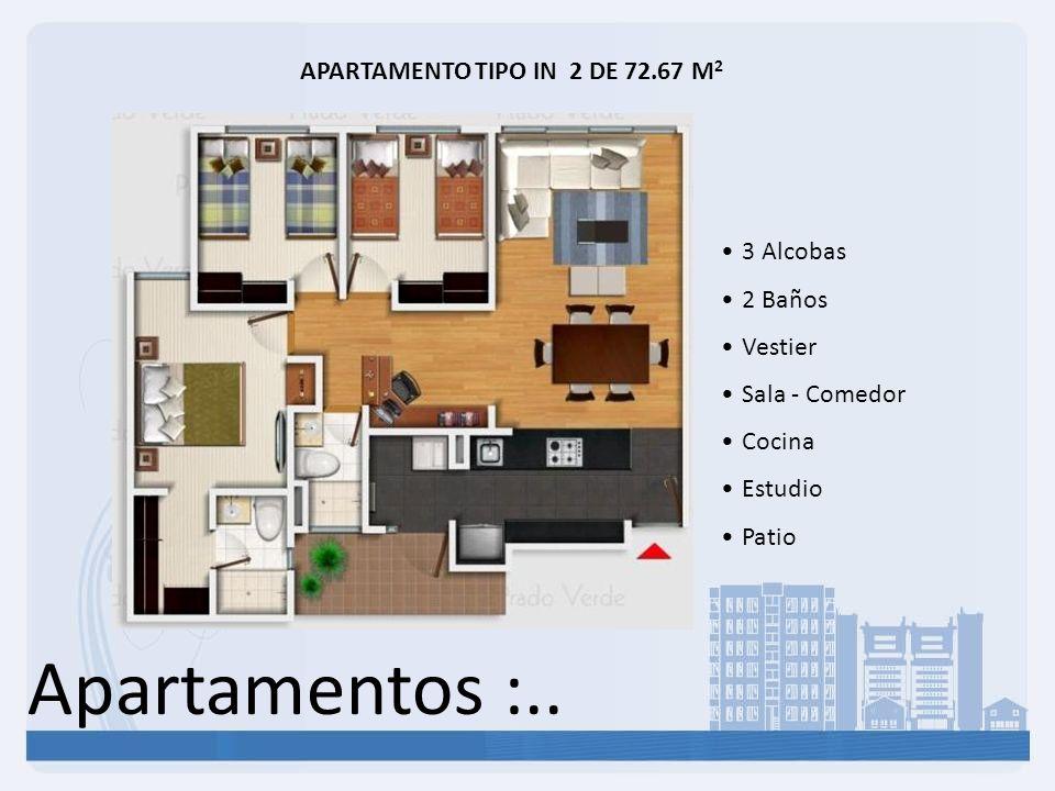 Apartamentos :.. APARTAMENTO TIPO IN 2 DE 72.67 M 2 3 Alcobas 2 Baños Vestier Sala - Comedor Cocina Estudio Patio