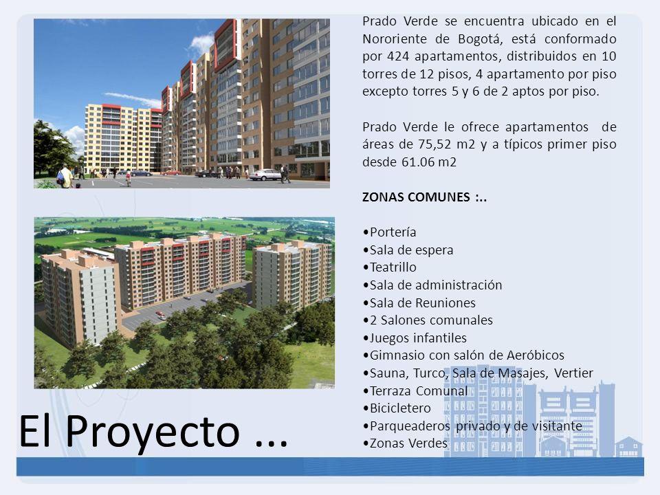 El Proyecto... Prado Verde se encuentra ubicado en el Nororiente de Bogotá, está conformado por 424 apartamentos, distribuidos en 10 torres de 12 piso