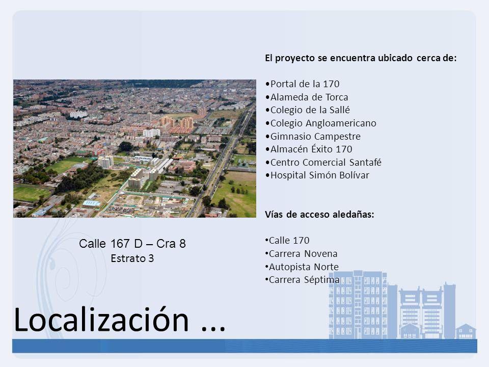 Localización... Calle 167 D – Cra 8 Estrato 3 El proyecto se encuentra ubicado cerca de: Portal de la 170 Alameda de Torca Colegio de la Sallé Colegio