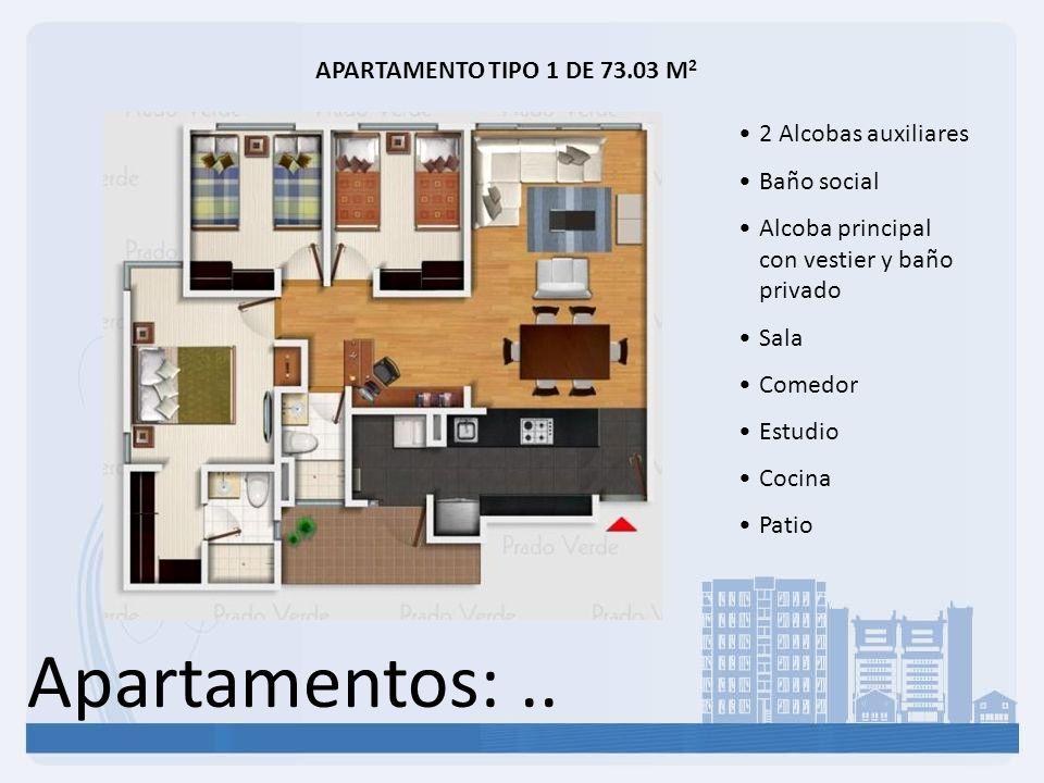 Apartamentos:.. APARTAMENTO TIPO 1 DE 73.03 M 2 2 Alcobas auxiliares Baño social Alcoba principal con vestier y baño privado Sala Comedor Estudio Coci