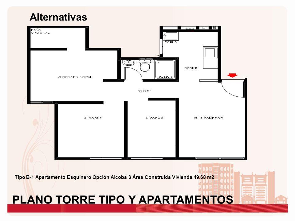 Alternativas Tipo B-1 Apartamento Esquinero Opción Alcoba 3 Área Construida Vivienda 49.68 m2 PLANO TORRE TIPO Y APARTAMENTOS