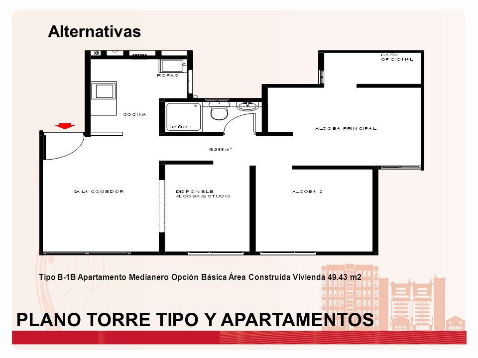 Alternativas Tipo B-1B Apartamento Medianero Opción Básica Área Construida Vivienda 49.43 m2 PLANO TORRE TIPO Y APARTAMENTOS