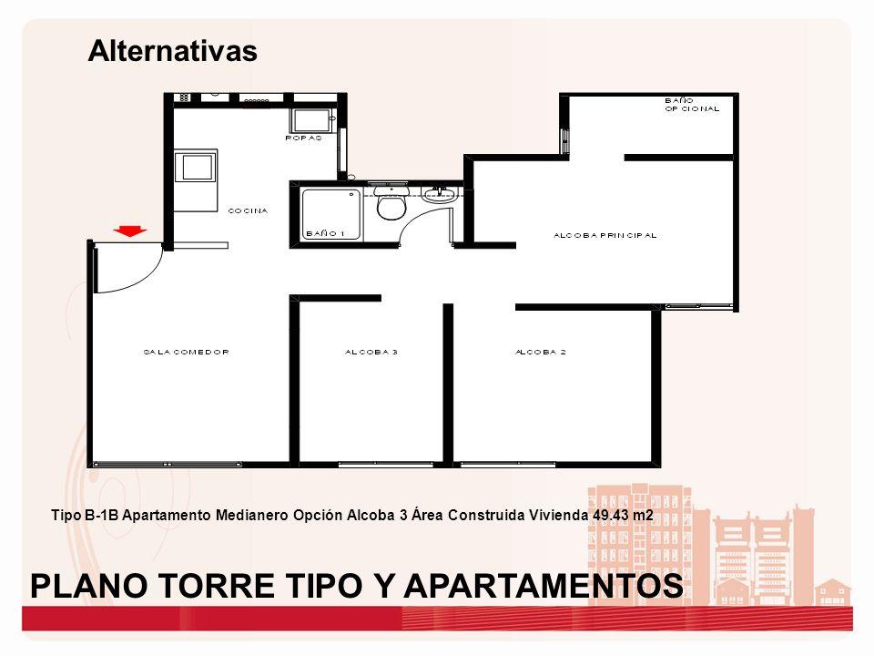 Alternativas Tipo B-1B Apartamento Medianero Opción Alcoba 3 Área Construida Vivienda 49.43 m2 PLANO TORRE TIPO Y APARTAMENTOS